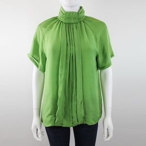 Red Valentino Green Silk Short Sleeve Blouse Top